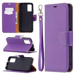Classic Luxury Litchi Leather Phone Wallet Case for Mi Xiaomi Poco M3 - Purple