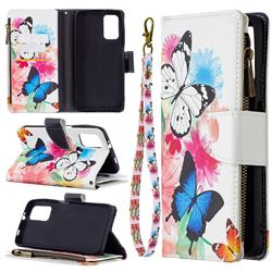 Vivid Flying Butterflies Binfen Color BF03 Retro Zipper Leather Wallet Phone Case for Mi Xiaomi Poco M3