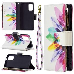 Seven-color Flowers Binfen Color BF03 Retro Zipper Leather Wallet Phone Case for Mi Xiaomi Poco M3