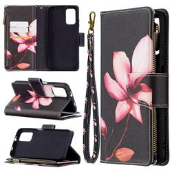 Lotus Flower Binfen Color BF03 Retro Zipper Leather Wallet Phone Case for Mi Xiaomi Poco M3