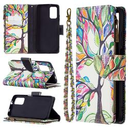 The Tree of Life Binfen Color BF03 Retro Zipper Leather Wallet Phone Case for Mi Xiaomi Poco M3