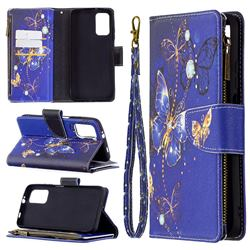 Purple Butterfly Binfen Color BF03 Retro Zipper Leather Wallet Phone Case for Mi Xiaomi Poco M3