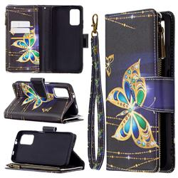 Golden Shining Butterfly Binfen Color BF03 Retro Zipper Leather Wallet Phone Case for Mi Xiaomi Poco M3