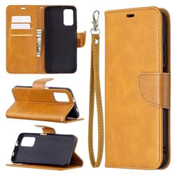 Classic Sheepskin PU Leather Phone Wallet Case for Mi Xiaomi Poco M3 - Yellow