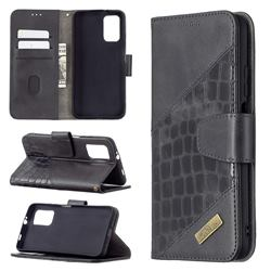 BinfenColor BF04 Color Block Stitching Crocodile Leather Case Cover for Mi Xiaomi Poco M3 - Black