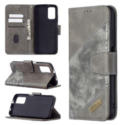 BinfenColor BF04 Color Block Stitching Crocodile Leather Case Cover for Mi Xiaomi Poco M3 - Gray