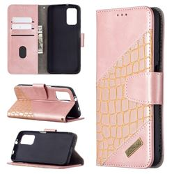 BinfenColor BF04 Color Block Stitching Crocodile Leather Case Cover for Mi Xiaomi Poco M3 - Rose Gold