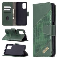 BinfenColor BF04 Color Block Stitching Crocodile Leather Case Cover for Mi Xiaomi Poco M3 - Green