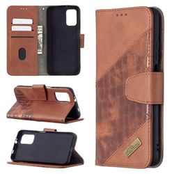 BinfenColor BF04 Color Block Stitching Crocodile Leather Case Cover for Mi Xiaomi Poco M3 - Brown