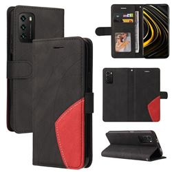Luxury Two-color Stitching Leather Wallet Case Cover for Mi Xiaomi Poco M3 - Black