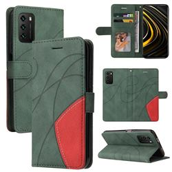 Luxury Two-color Stitching Leather Wallet Case Cover for Mi Xiaomi Poco M3 - Green