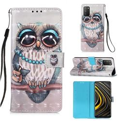 Sweet Gray Owl 3D Painted Leather Wallet Case for Mi Xiaomi Poco M3