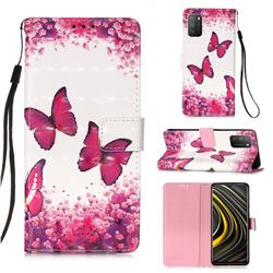 Rose Butterfly 3D Painted Leather Wallet Case for Mi Xiaomi Poco M3
