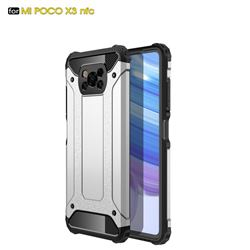 King Kong Armor Premium Shockproof Dual Layer Rugged Hard Cover for Mi Xiaomi Poco X3 NFC - White