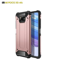 King Kong Armor Premium Shockproof Dual Layer Rugged Hard Cover for Mi Xiaomi Poco X3 NFC - Rose Gold