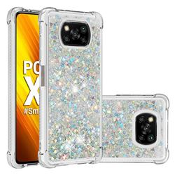 Dynamic Liquid Glitter Sand Quicksand Star TPU Case for Mi Xiaomi Poco X3 NFC - Silver