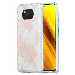 Pink White Marble Pattern Galvanized Electroplating Protective Case Cover for Mi Xiaomi Poco X3 NFC