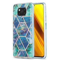 Blue Green Marble Pattern Galvanized Electroplating Protective Case Cover for Mi Xiaomi Poco X3 NFC
