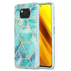 Blue Sea Marble Pattern Galvanized Electroplating Protective Case Cover for Mi Xiaomi Poco X3 NFC