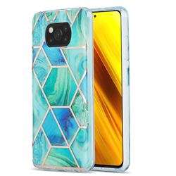 Green Glacier Marble Pattern Galvanized Electroplating Protective Case Cover for Mi Xiaomi Poco X3 NFC