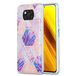 Purple Dream Marble Pattern Galvanized Electroplating Protective Case Cover for Mi Xiaomi Poco X3 NFC
