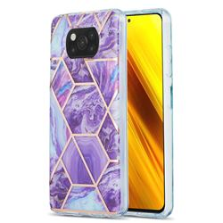 Purple Gagic Marble Pattern Galvanized Electroplating Protective Case Cover for Mi Xiaomi Poco X3 NFC