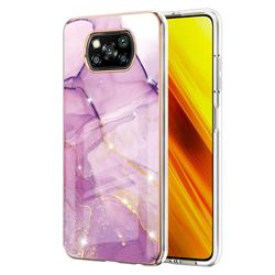 Dream Violet Electroplated Gold Frame 2.0 Thickness Plating Marble IMD Soft Back Cover for Mi Xiaomi Poco X3 NFC