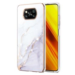 White Dreaming Electroplated Gold Frame 2.0 Thickness Plating Marble IMD Soft Back Cover for Mi Xiaomi Poco X3 NFC