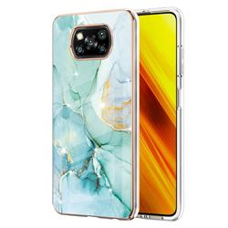 Green Silk Electroplated Gold Frame 2.0 Thickness Plating Marble IMD Soft Back Cover for Mi Xiaomi Poco X3 NFC