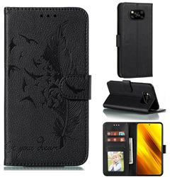 Intricate Embossing Lychee Feather Bird Leather Wallet Case for Mi Xiaomi Poco X3 NFC - Black