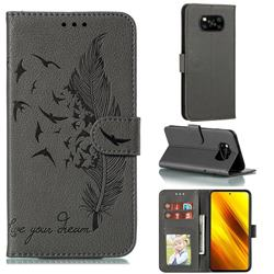 Intricate Embossing Lychee Feather Bird Leather Wallet Case for Mi Xiaomi Poco X3 NFC - Gray