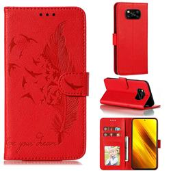 Intricate Embossing Lychee Feather Bird Leather Wallet Case for Mi Xiaomi Poco X3 NFC - Red