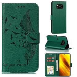 Intricate Embossing Lychee Feather Bird Leather Wallet Case for Mi Xiaomi Poco X3 NFC - Green