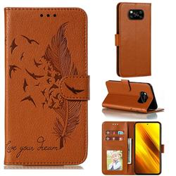 Intricate Embossing Lychee Feather Bird Leather Wallet Case for Mi Xiaomi Poco X3 NFC - Brown