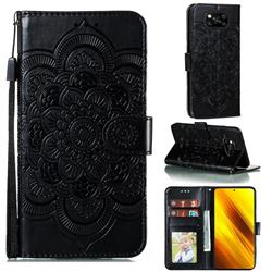 Intricate Embossing Datura Solar Leather Wallet Case for Mi Xiaomi Poco X3 NFC - Black