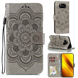 Intricate Embossing Datura Solar Leather Wallet Case for Mi Xiaomi Poco X3 NFC - Gray
