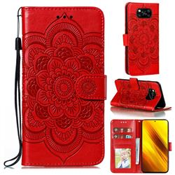 Intricate Embossing Datura Solar Leather Wallet Case for Mi Xiaomi Poco X3 NFC - Red