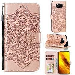 Intricate Embossing Datura Solar Leather Wallet Case for Mi Xiaomi Poco X3 NFC - Rose Gold