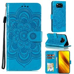 Intricate Embossing Datura Solar Leather Wallet Case for Mi Xiaomi Poco X3 NFC - Blue