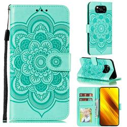 Intricate Embossing Datura Solar Leather Wallet Case for Mi Xiaomi Poco X3 NFC - Green