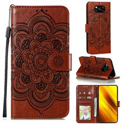 Intricate Embossing Datura Solar Leather Wallet Case for Mi Xiaomi Poco X3 NFC - Brown