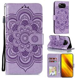 Intricate Embossing Datura Solar Leather Wallet Case for Mi Xiaomi Poco X3 NFC - Purple
