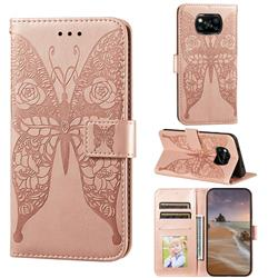 Intricate Embossing Rose Flower Butterfly Leather Wallet Case for Mi Xiaomi Poco X3 NFC - Rose Gold
