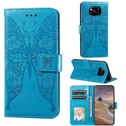 Intricate Embossing Rose Flower Butterfly Leather Wallet Case for Mi Xiaomi Poco X3 NFC - Blue