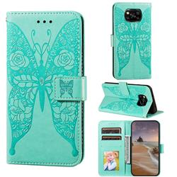 Intricate Embossing Rose Flower Butterfly Leather Wallet Case for Mi Xiaomi Poco X3 NFC - Green