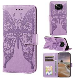 Intricate Embossing Rose Flower Butterfly Leather Wallet Case for Mi Xiaomi Poco X3 NFC - Purple