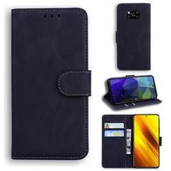 Retro Classic Skin Feel Leather Wallet Phone Case for Mi Xiaomi Poco X3 NFC - Black