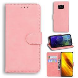 Retro Classic Skin Feel Leather Wallet Phone Case for Mi Xiaomi Poco X3 NFC - Pink