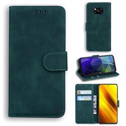 Retro Classic Skin Feel Leather Wallet Phone Case for Mi Xiaomi Poco X3 NFC - Green