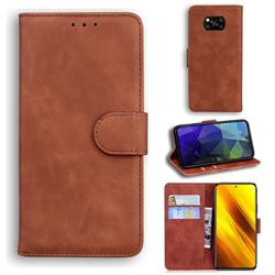 Retro Classic Skin Feel Leather Wallet Phone Case for Mi Xiaomi Poco X3 NFC - Brown